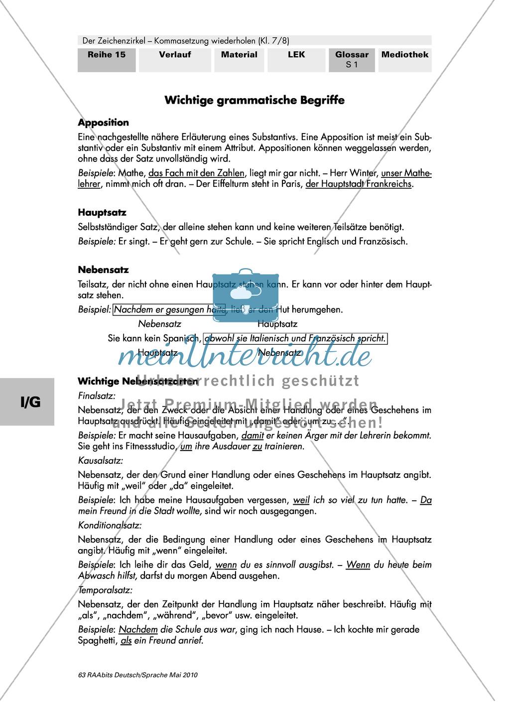 Kommasetzung: Wichtige grammatische Begriffe im Überblick Preview 0