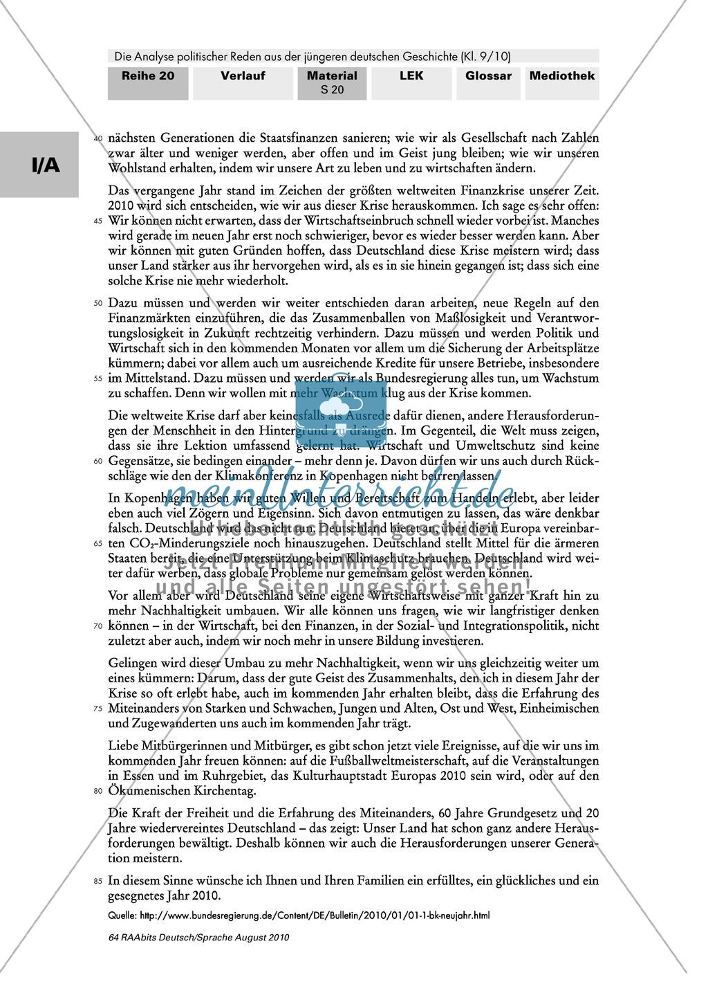 Angela Merkels Neujahrsansprache 2009: Analyse und eigenständige ...