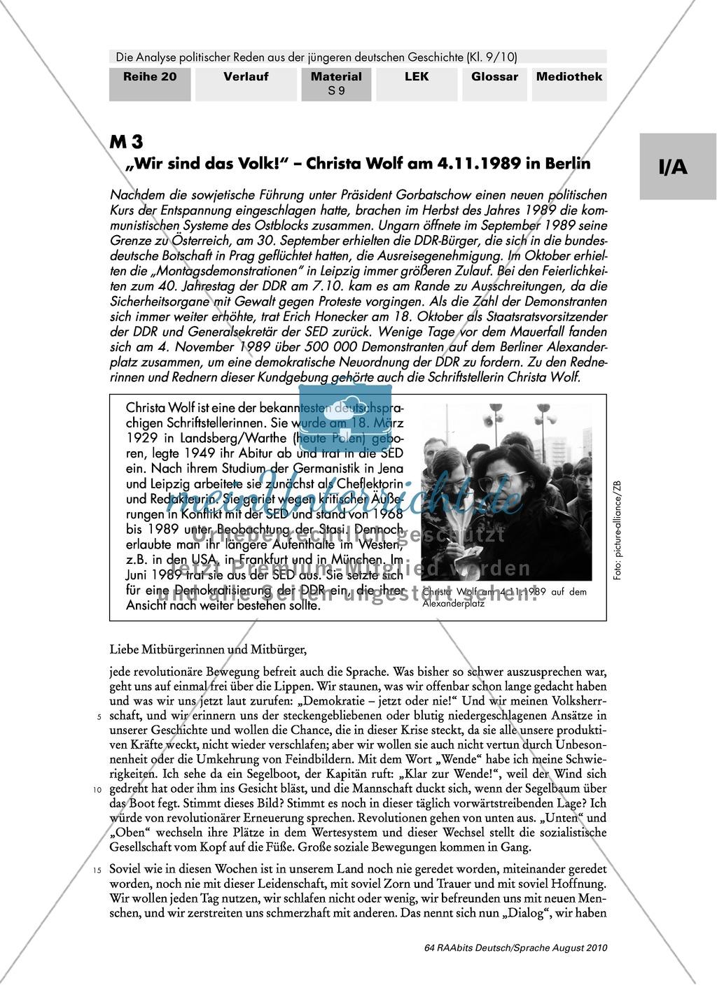 """Christa Wolf """"Wir sind das Volk"""" (1989): Sprachliche Mittel als gestalterische Mittel erkennen und in Bezug zur Redeabsicht stellen Preview 1"""