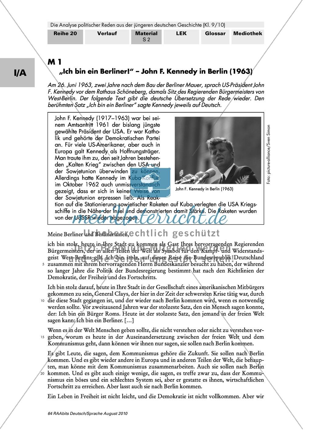 """Rede von John F. Kennedy """"Ich bin ein Berliner"""" - Erste Übungen auf dem Weg zur Redeanalyse Preview 1"""
