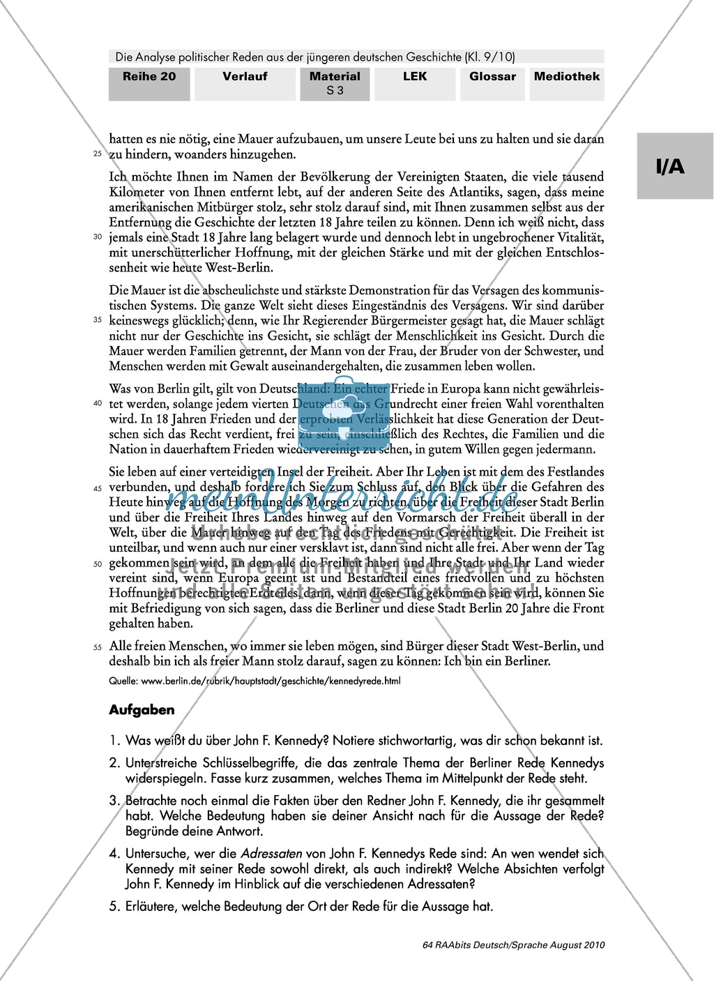 """Rede von John F. Kennedy """"Ich bin ein Berliner"""" - Erste Übungen auf dem Weg zur Redeanalyse Preview 2"""