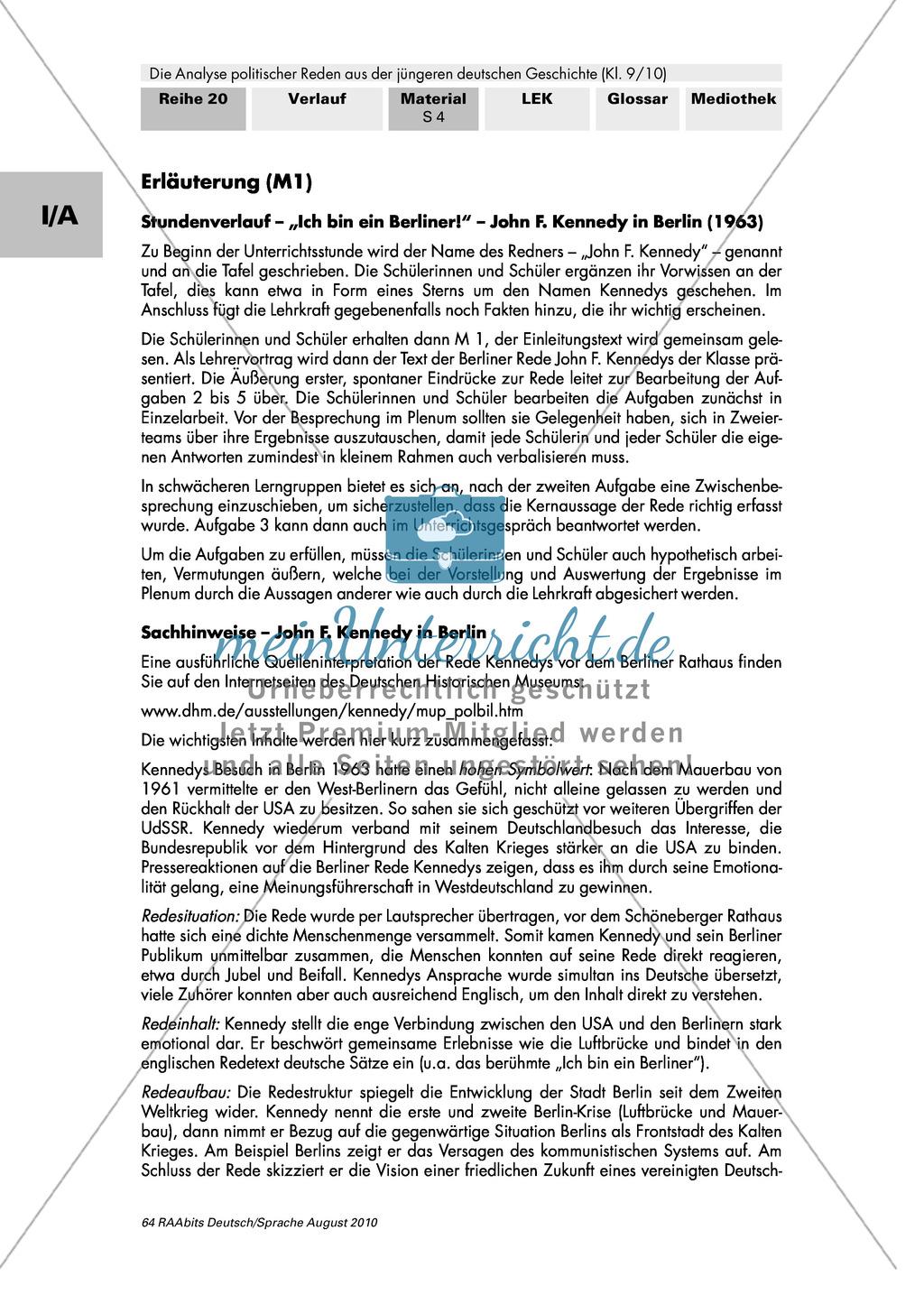 """Rede von John F. Kennedy """"Ich bin ein Berliner"""" - Erste Übungen auf dem Weg zur Redeanalyse Preview 3"""
