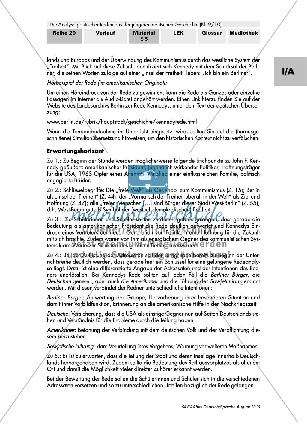 """Rede von John F. Kennedy """"Ich bin ein Berliner"""" - Erste Übungen auf dem Weg zur Redeanalyse Preview 4"""