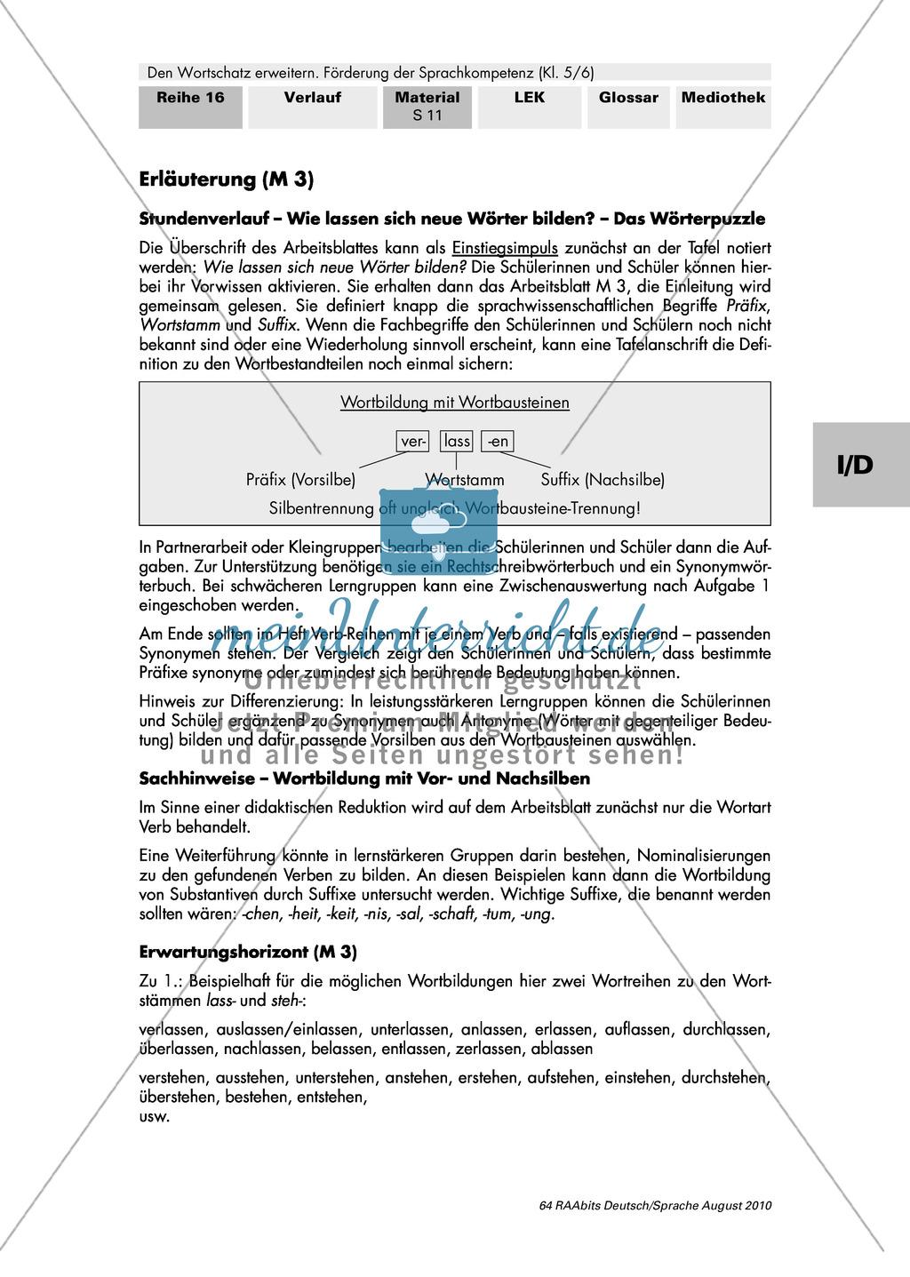 Typische Vorsilben deutscher Verben + Bedeutungsähnlichkeiten: Ein ...