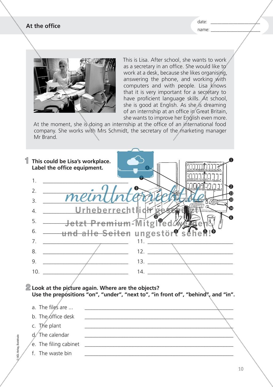Working in an office: Wortschatz Sekretariat + Präpositionen der Zeit Preview 0