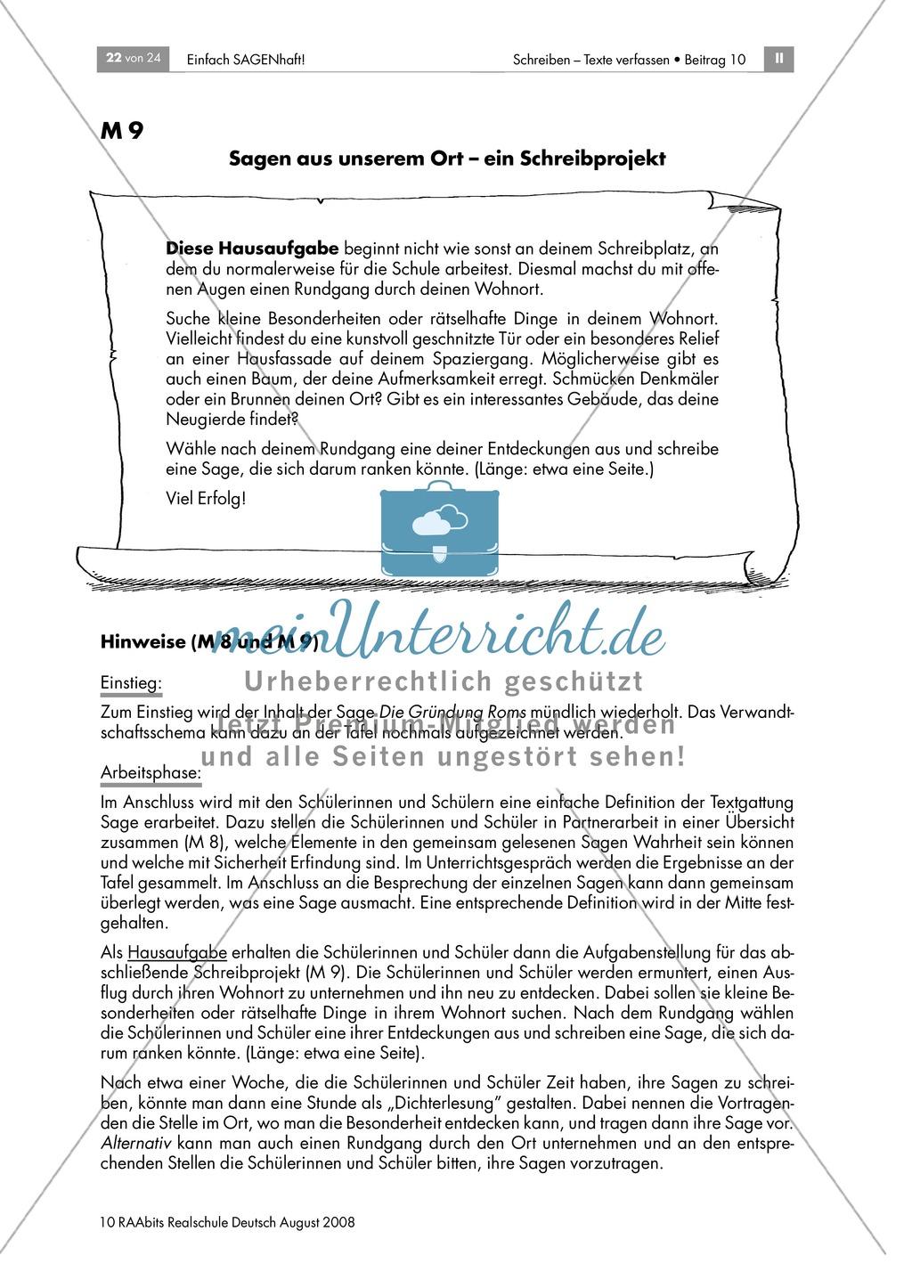 Antike Sagen: Eine Zusammenfasung erstellen und eigene Sagen schreiben Preview 1