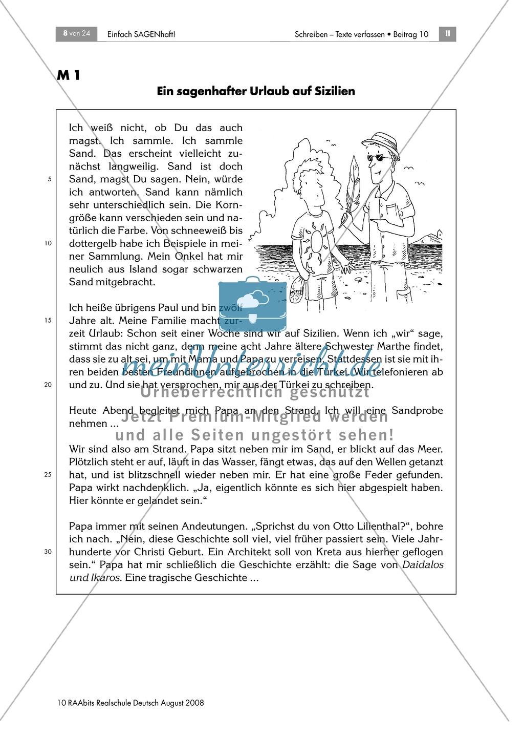 Daidalos und Ikarus: Den Inhalt der Sagen in eigenen Worten ...