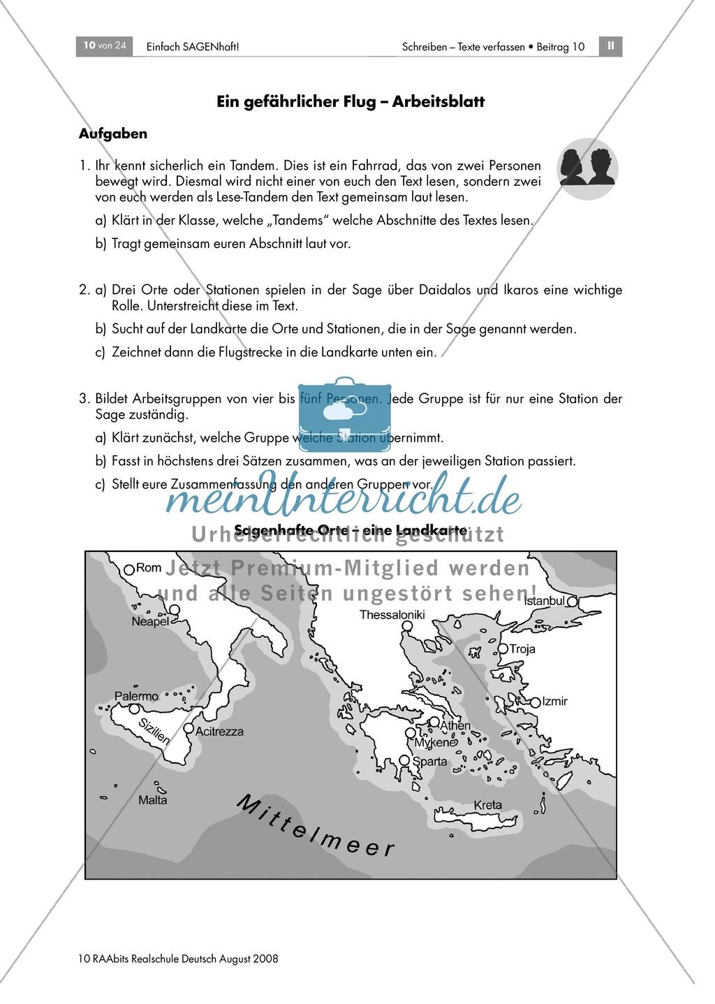 Daidalos und Ikarus: Den Inhalt der Sagen in eigenen Worten zusammenfassen Preview 3