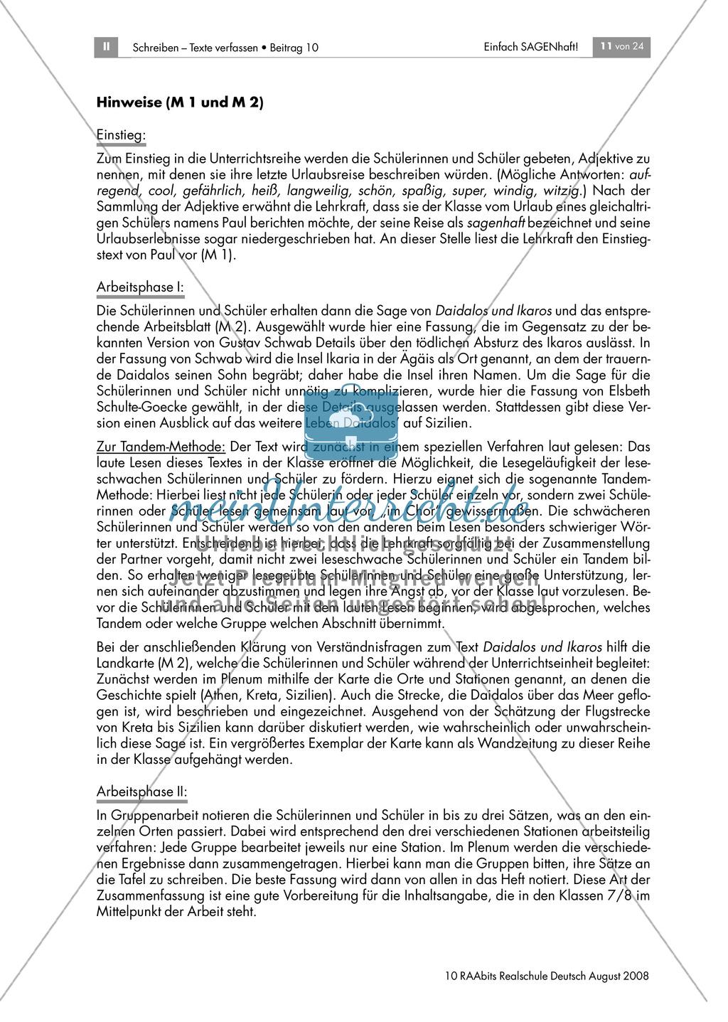 Daidalos und Ikarus: Den Inhalt der Sagen in eigenen Worten zusammenfassen Preview 4