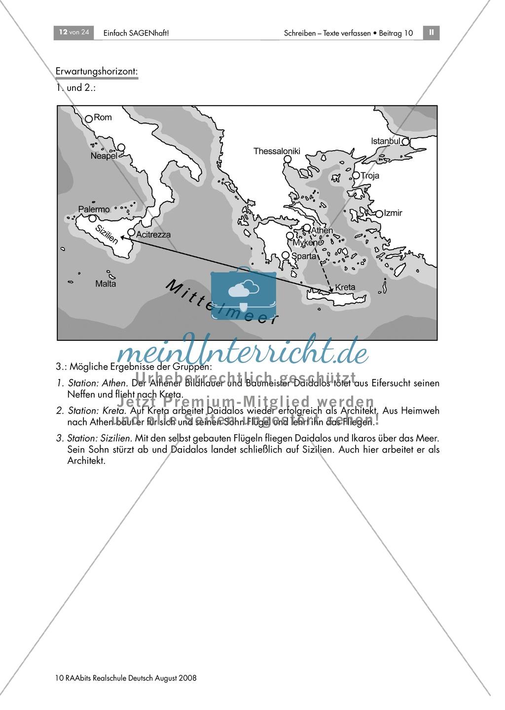 Daidalos und Ikarus: Den Inhalt der Sagen in eigenen Worten zusammenfassen Preview 5