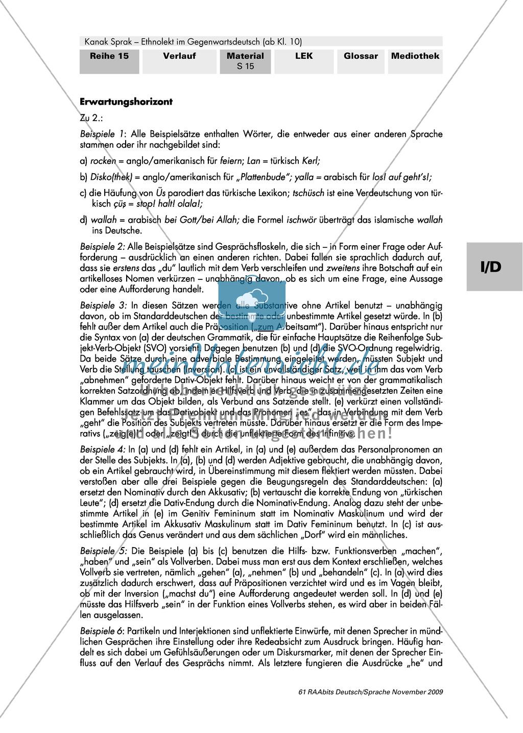 Importe, Verkürzungen, Abweichungen - Ethnolekt Preview 2