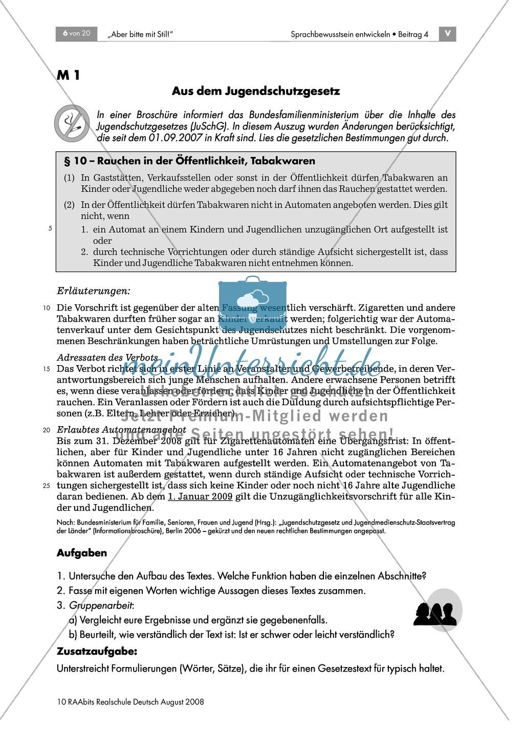 Jugendschutzgesetz: Einen Text im Nominalstil erschließen + Wiederholung grammatischer Grundkenntnisse Preview 0