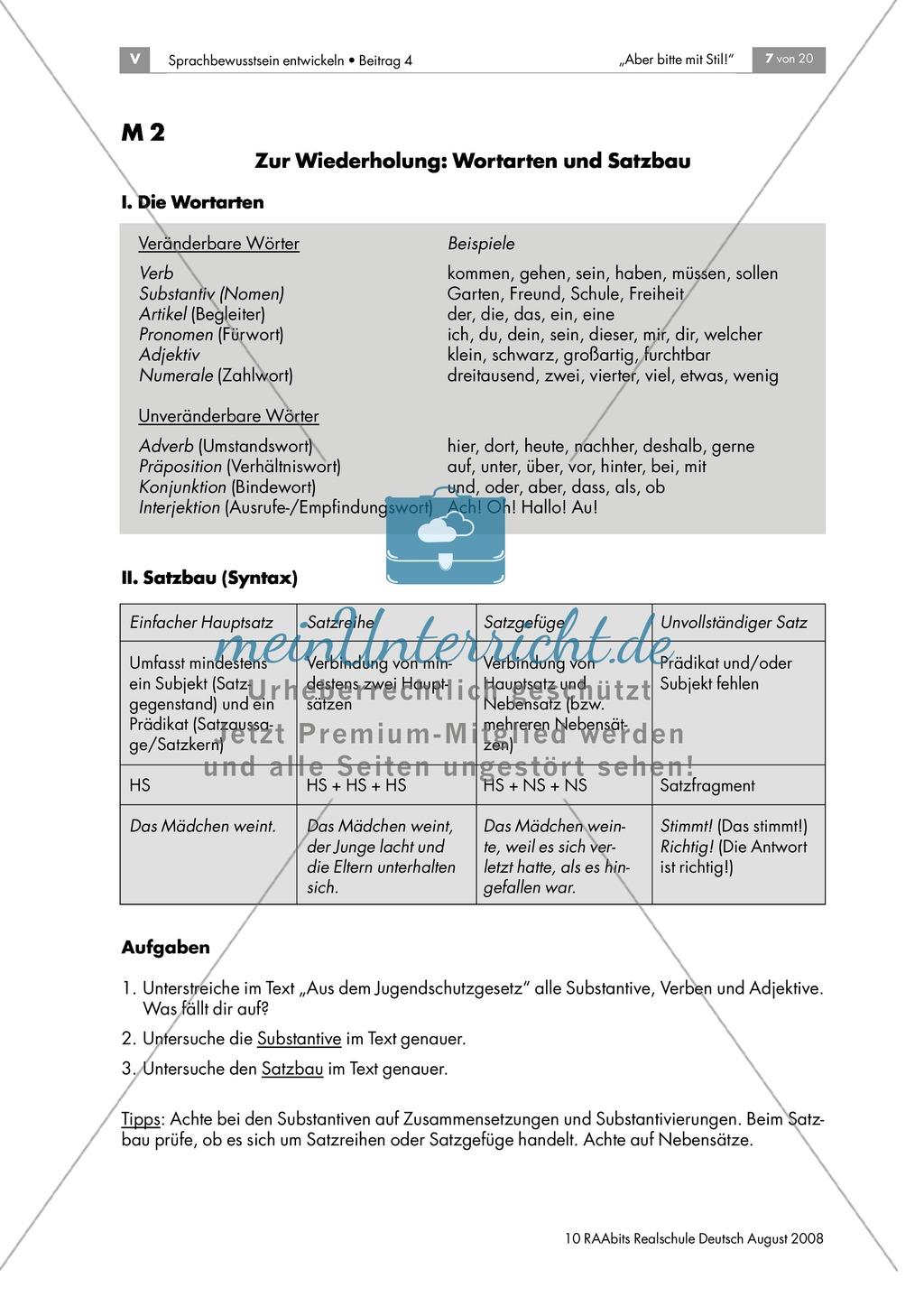 Jugendschutzgesetz: Einen Text im Nominalstil erschließen + Wiederholung grammatischer Grundkenntnisse Preview 1