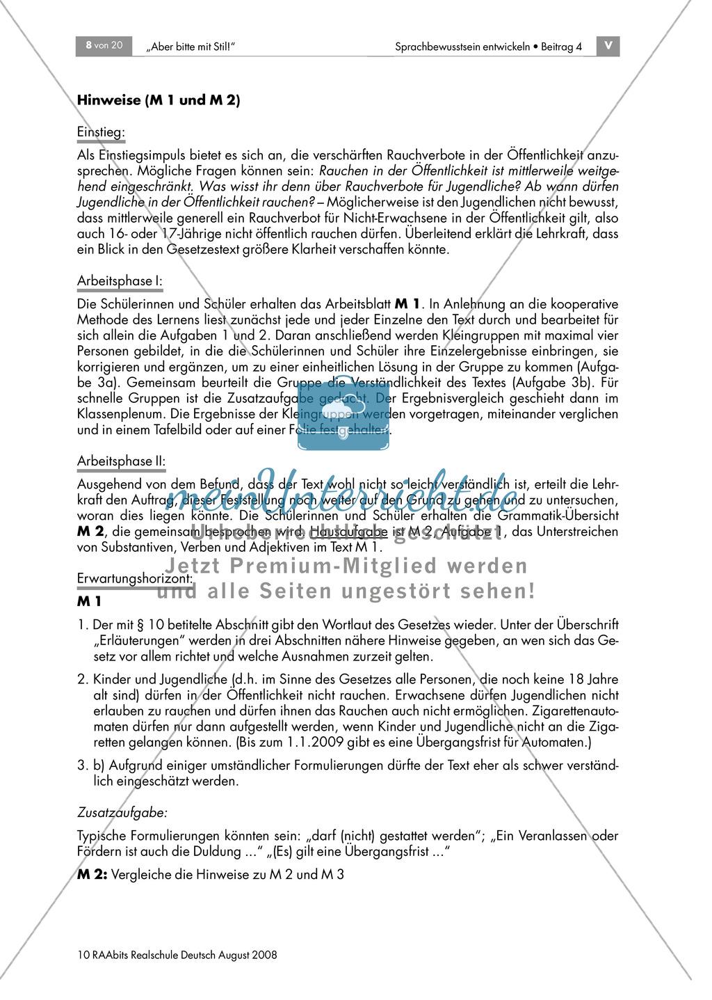 Jugendschutzgesetz: Einen Text im Nominalstil erschließen + Wiederholung grammatischer Grundkenntnisse Preview 2