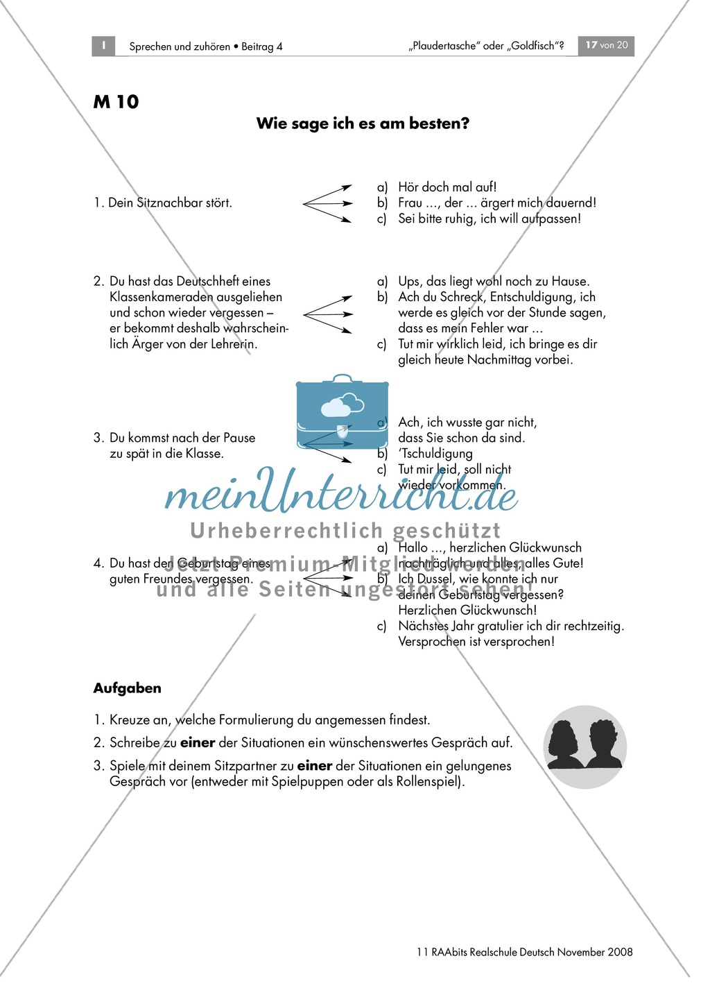 Angemessene Ausdrucksweisen finden - Wünschenswertes Gesprächsverhalten reflektieren und einüben Preview 3