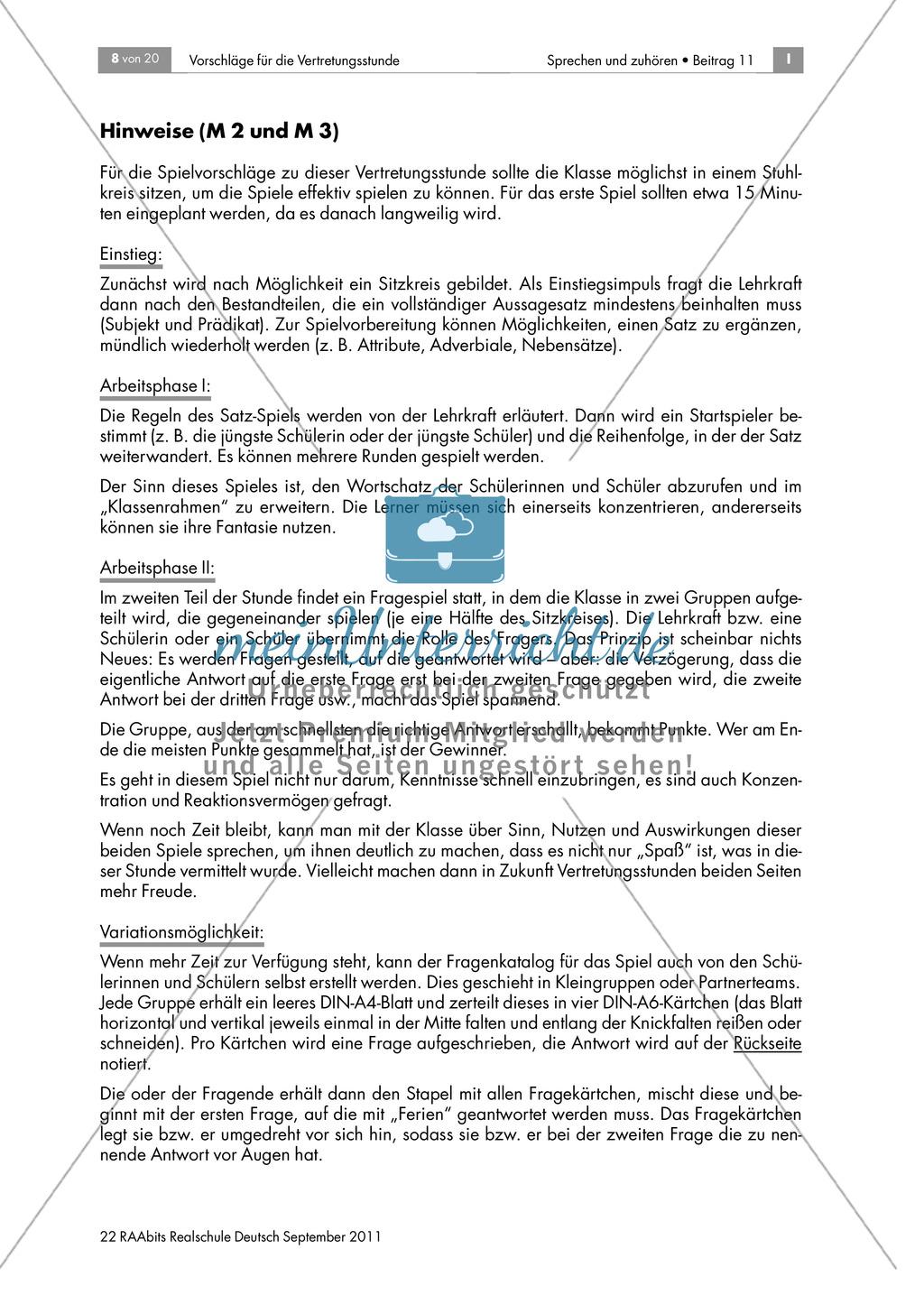Konzentrationsspiel für die Vertretungsstunde: Die verzögerte Antwort Preview 1