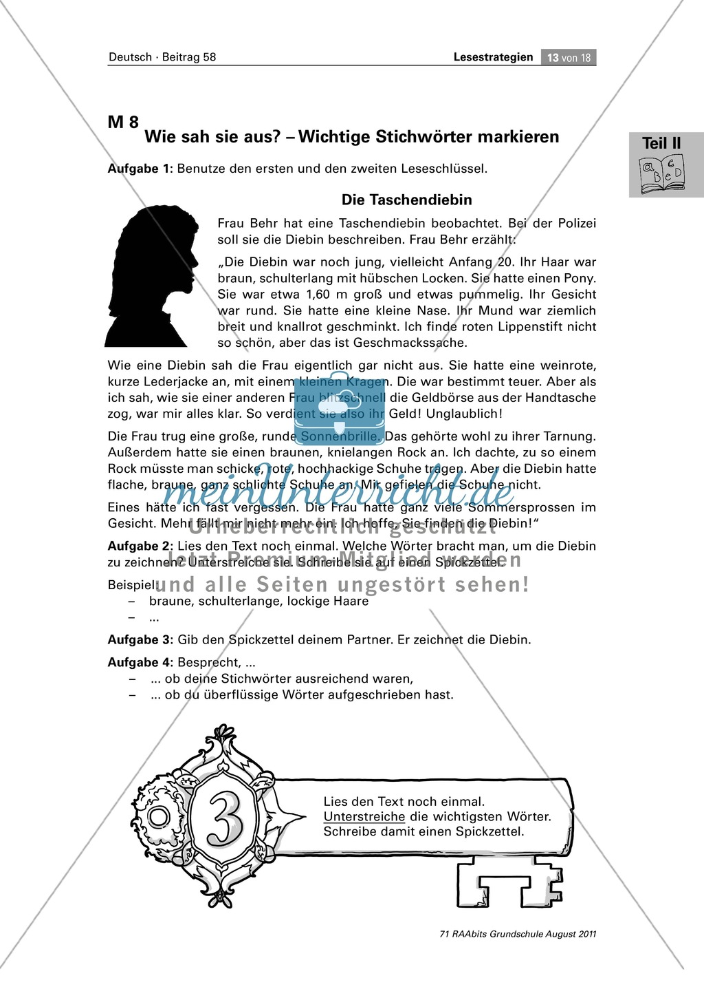 Die vier Schlüssel - Lesestrategien anhand von Sachtexten erarbeiten Preview 13
