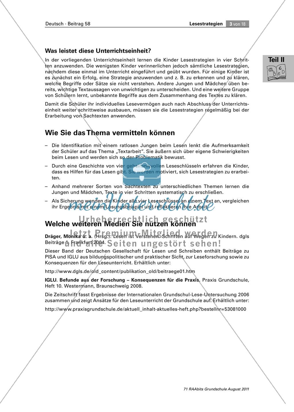 Die vier Schlüssel - Lesestrategien anhand von Sachtexten erarbeiten Preview 3