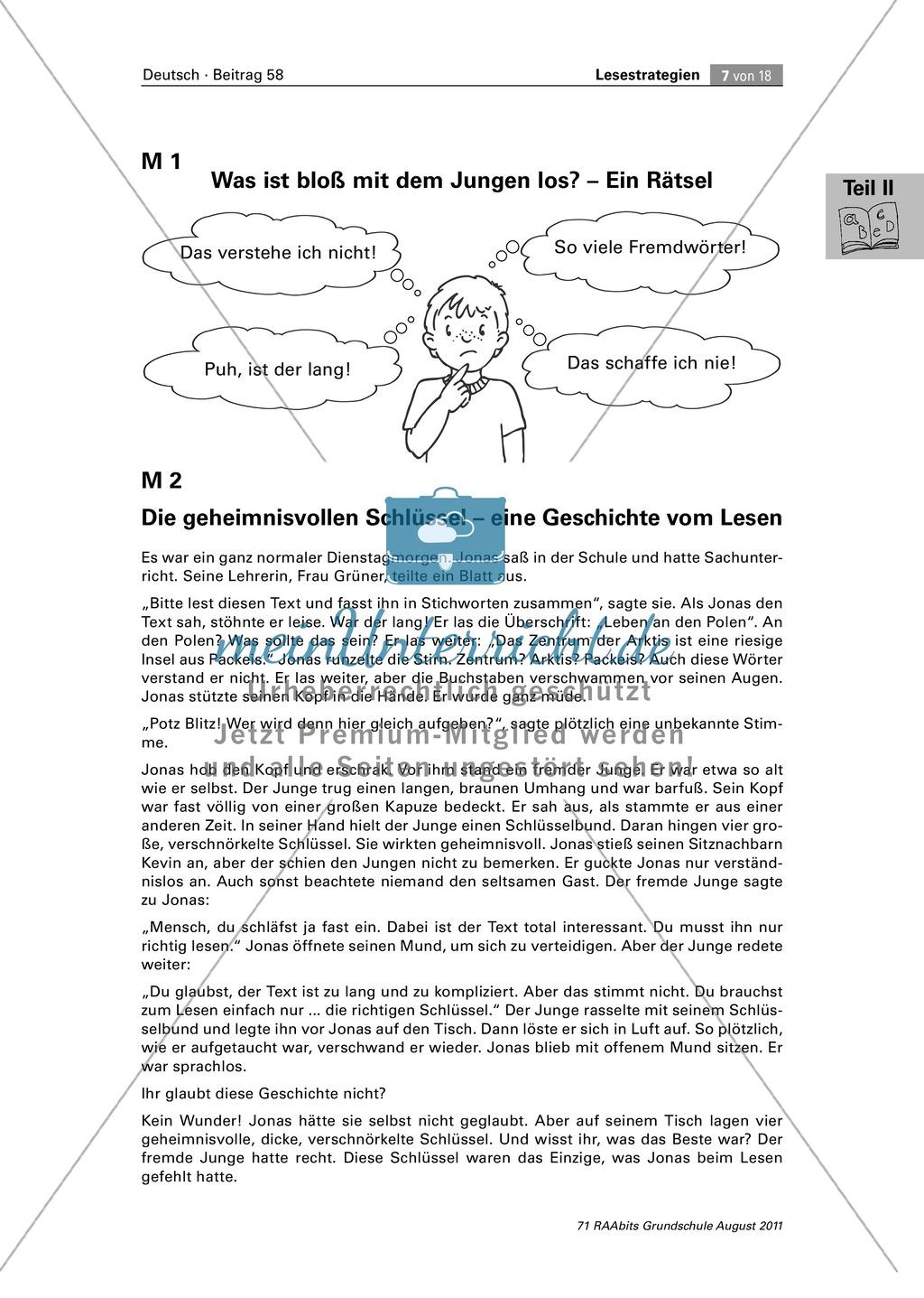 Die vier Schlüssel - Lesestrategien anhand von Sachtexten erarbeiten Preview 7