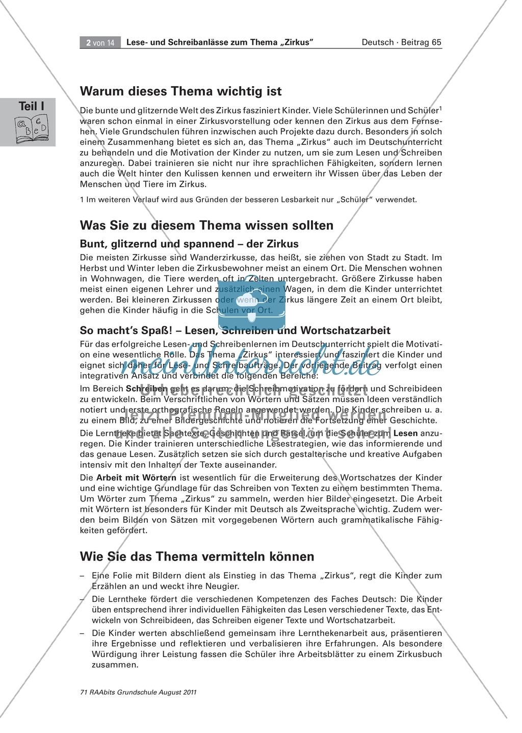 Lese- und Schreibanlässe zum Thema