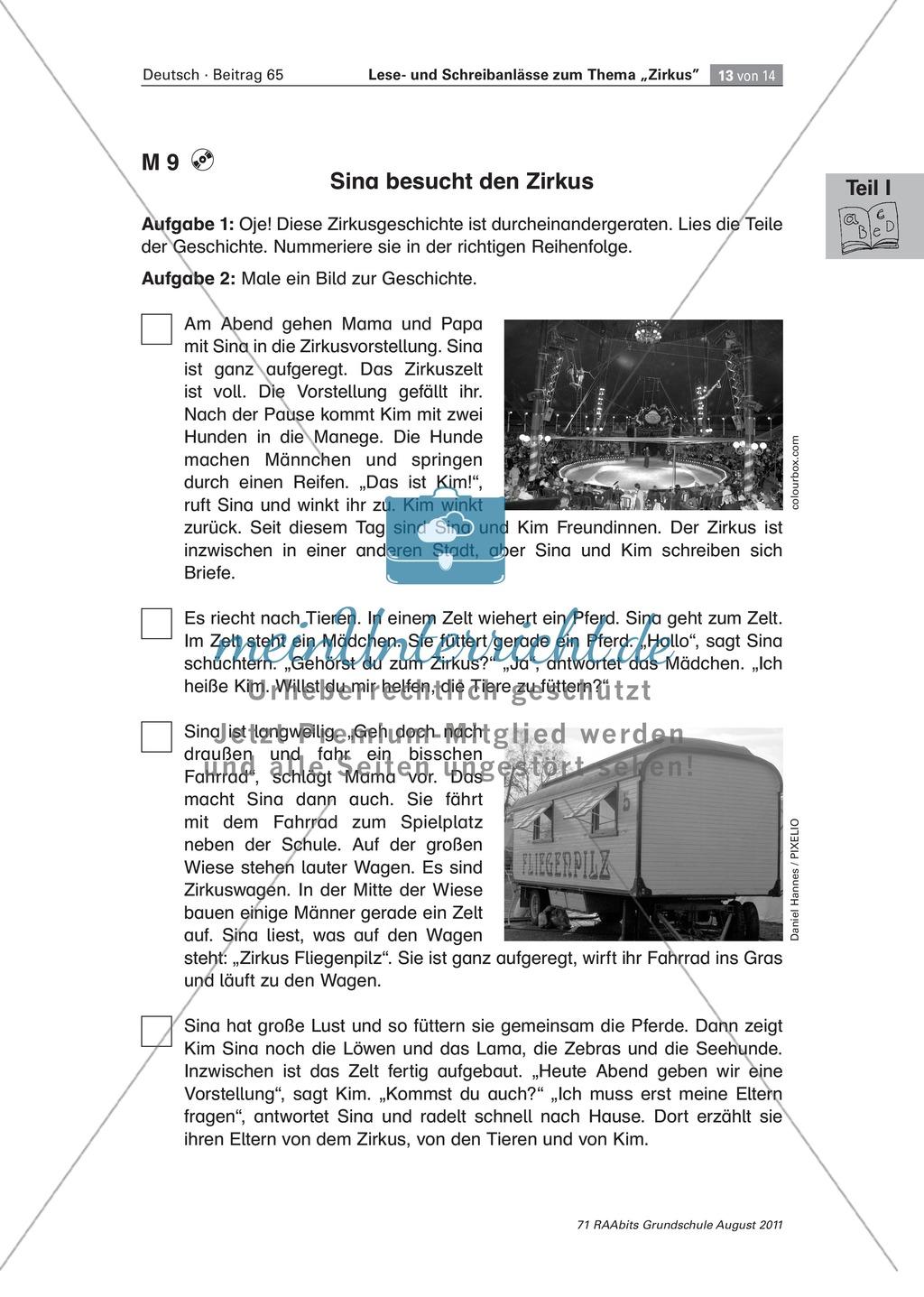 """Schreibanlässe zum Thema """"Zirkus"""" - Aufgaben für das Lernen an der Lerntheke Preview 10"""
