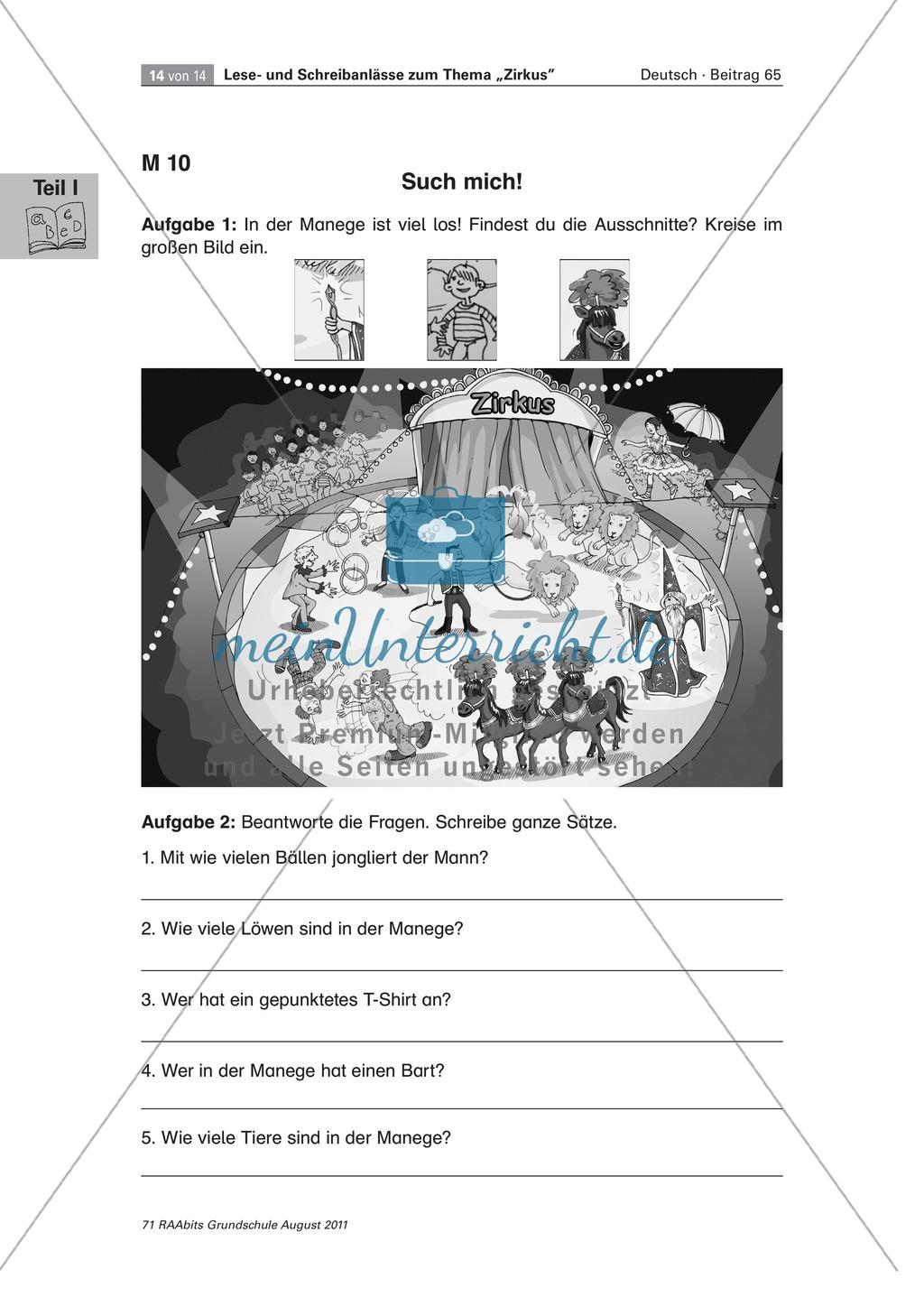 """Schreibanlässe zum Thema """"Zirkus"""" - Aufgaben für das Lernen an der Lerntheke Preview 11"""