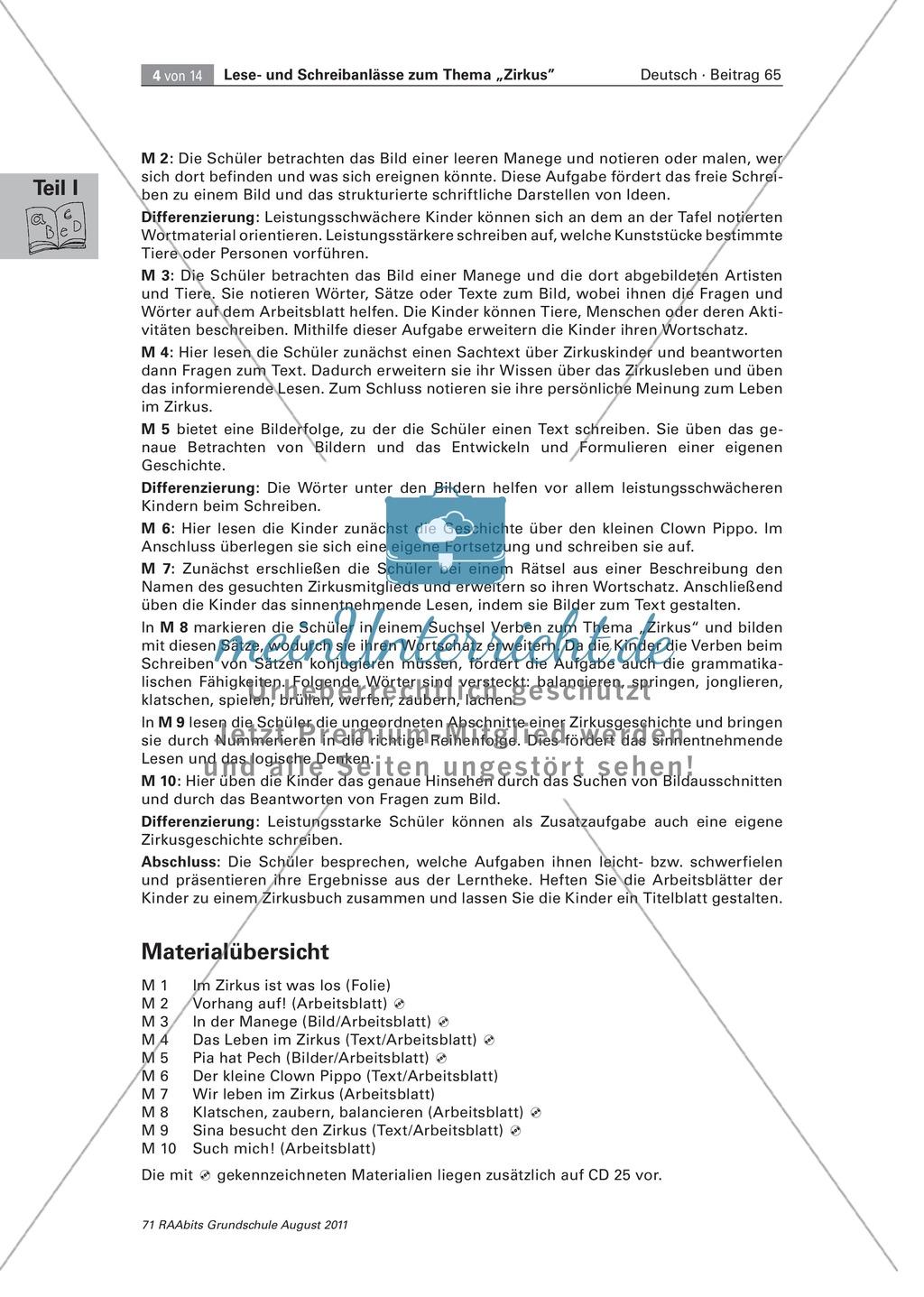 """Schreibanlässe zum Thema """"Zirkus"""" - Aufgaben für das Lernen an der Lerntheke Preview 2"""