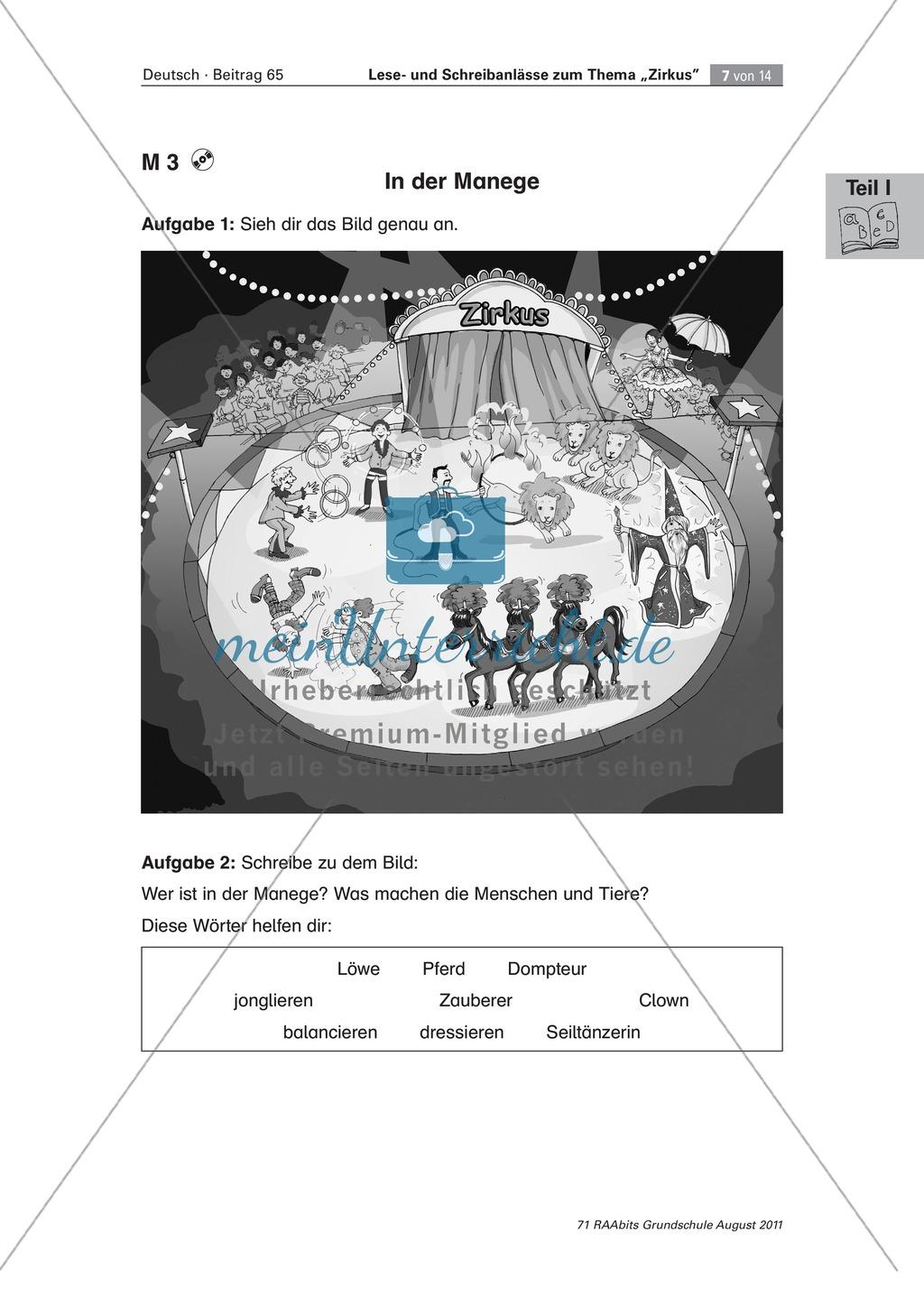 """Schreibanlässe zum Thema """"Zirkus"""" - Aufgaben für das Lernen an der Lerntheke Preview 4"""