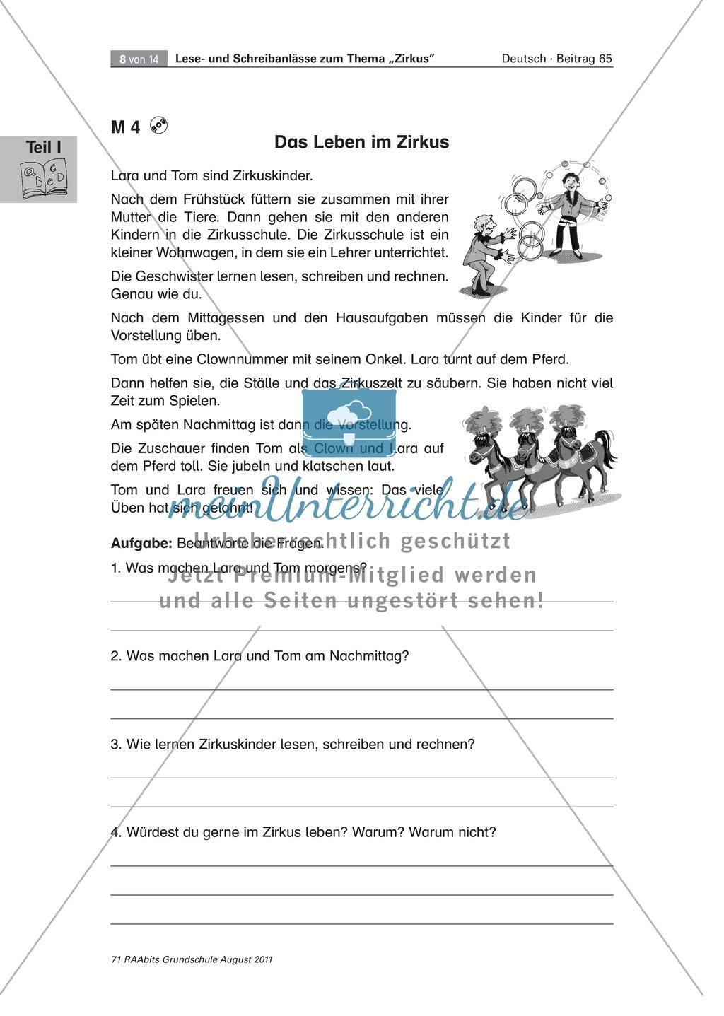 """Schreibanlässe zum Thema """"Zirkus"""" - Aufgaben für das Lernen an der Lerntheke Preview 5"""