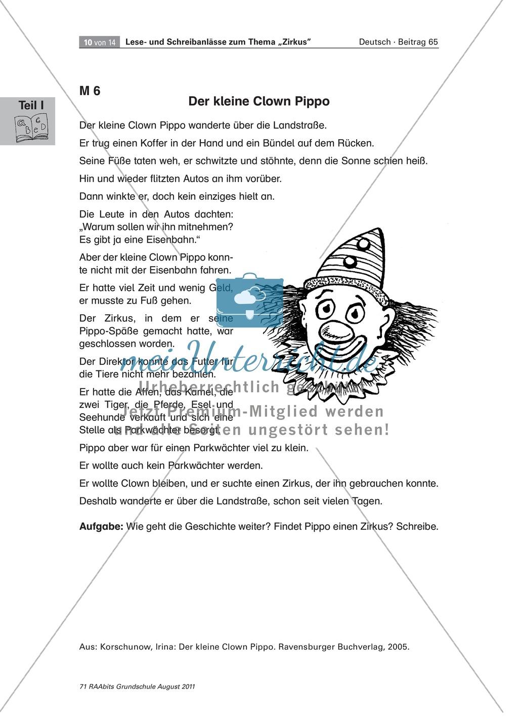 """Schreibanlässe zum Thema """"Zirkus"""" - Aufgaben für das Lernen an der Lerntheke Preview 7"""