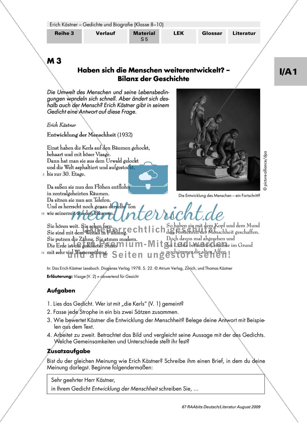 Gedicht Erich Kästner Entwicklung Der Menschheit