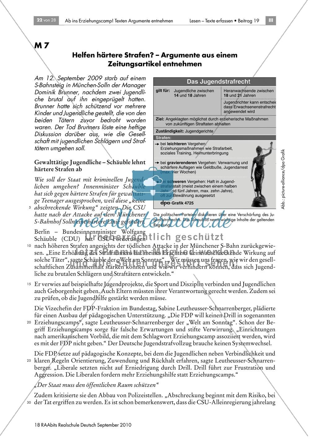 Thema Jugendstrafrecht: Argumente der politischen Diskussion erschließen und diskutieren Preview 0