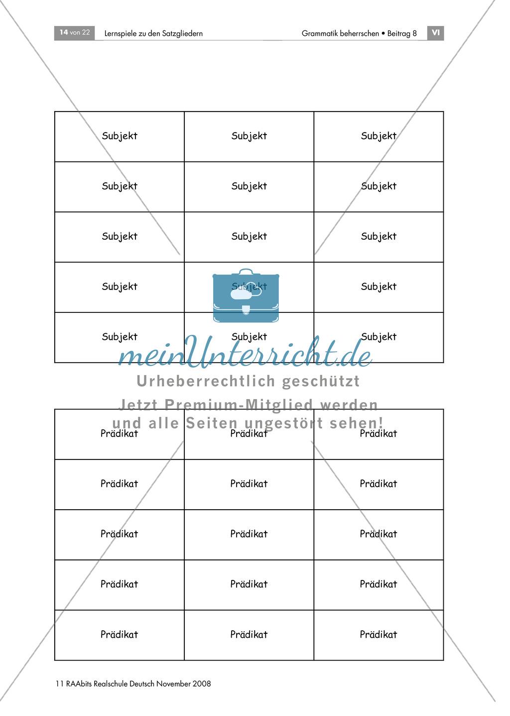 Lernspiele zu den Satzgliedern: Subjekt, Prädikat, Dativobjekt und Akkusativobjekt erkennen und unterscheiden Preview 3