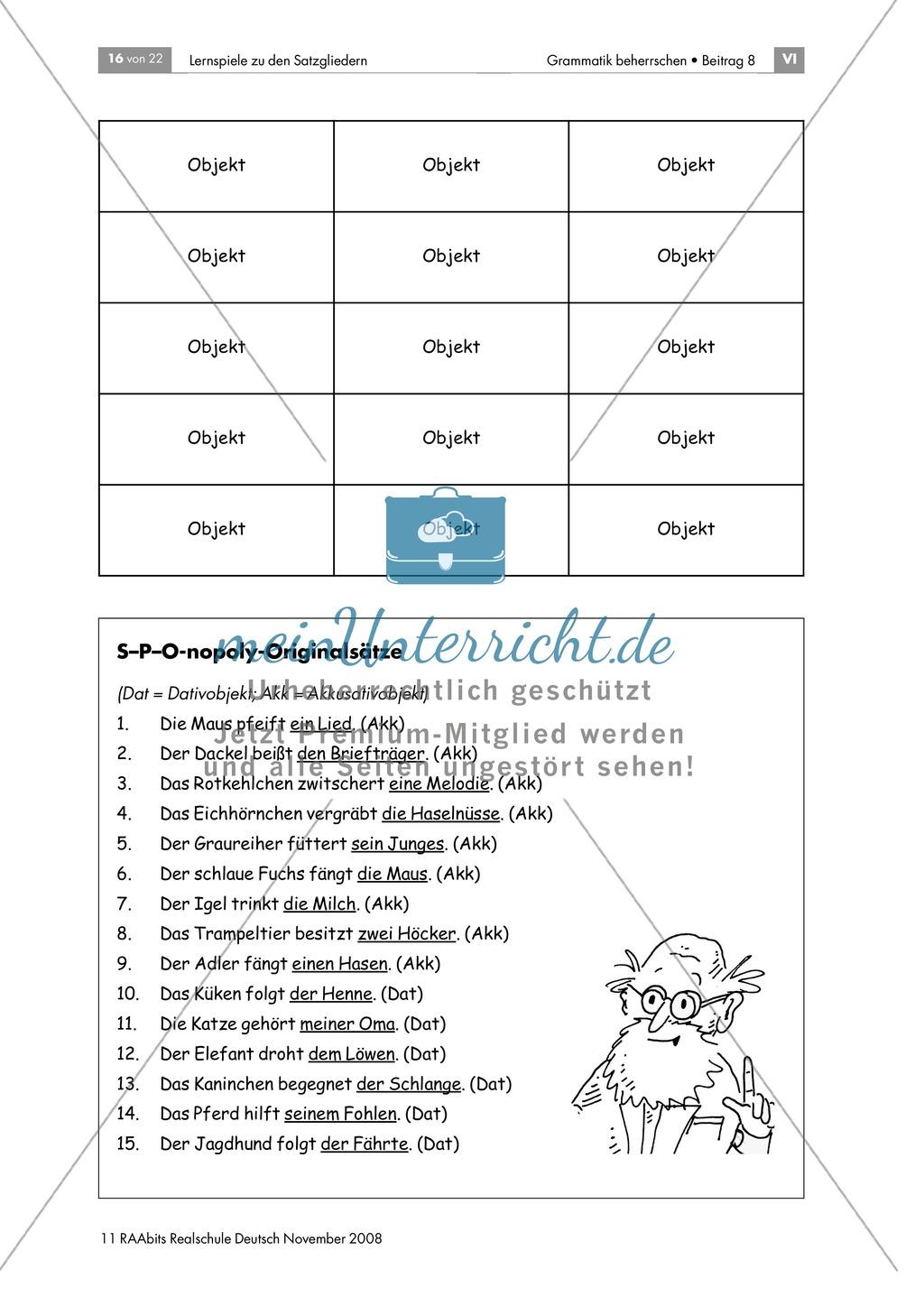 Lernspiele zu den Satzgliedern: Subjekt, Prädikat, Dativobjekt und Akkusativobjekt erkennen und unterscheiden Preview 5