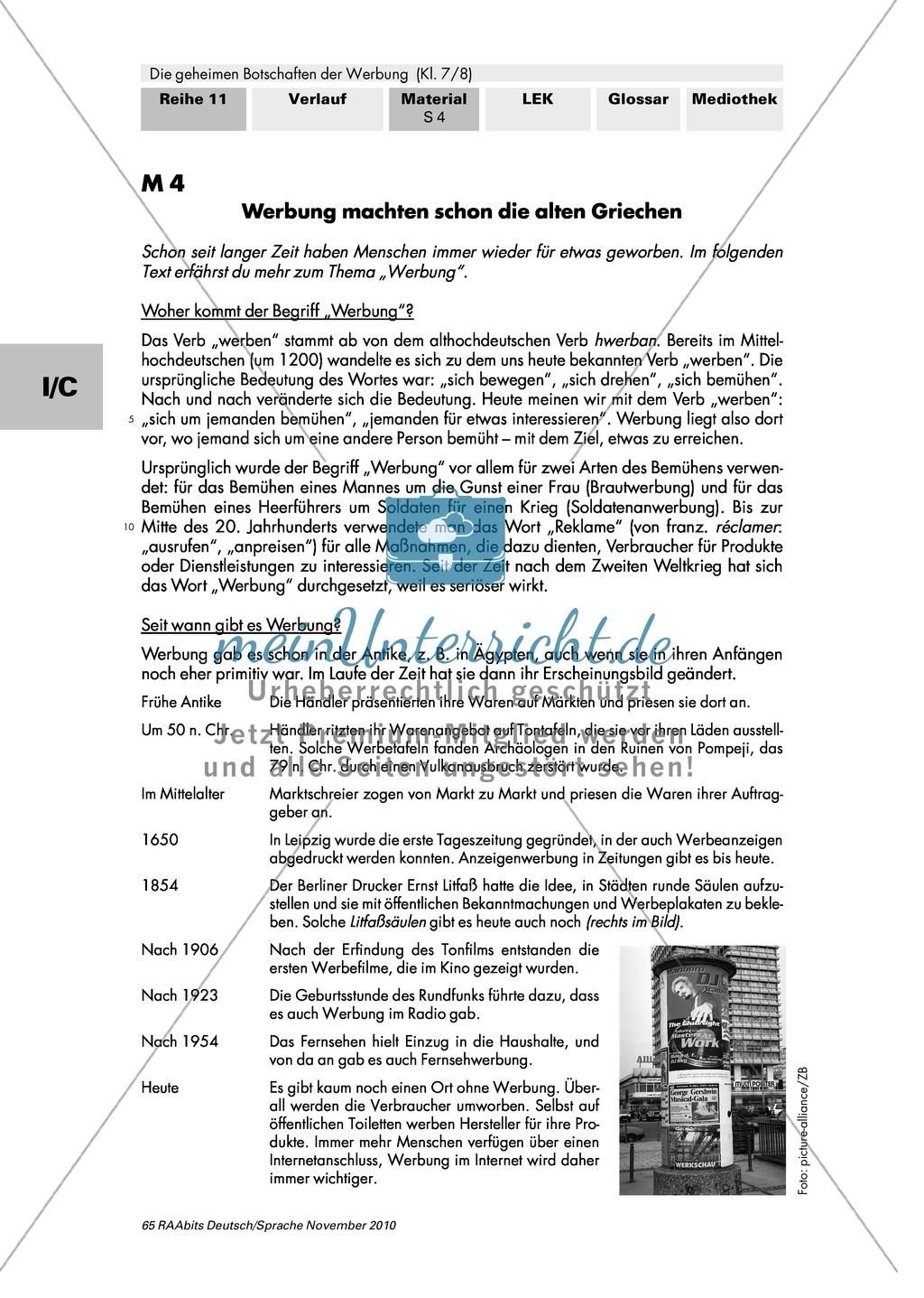 Werbung früher und heute: Werbung als gesellschaftliches Phänomen verstehen, Geschichte und Funktion der Werbung herausarbeiten Preview 3