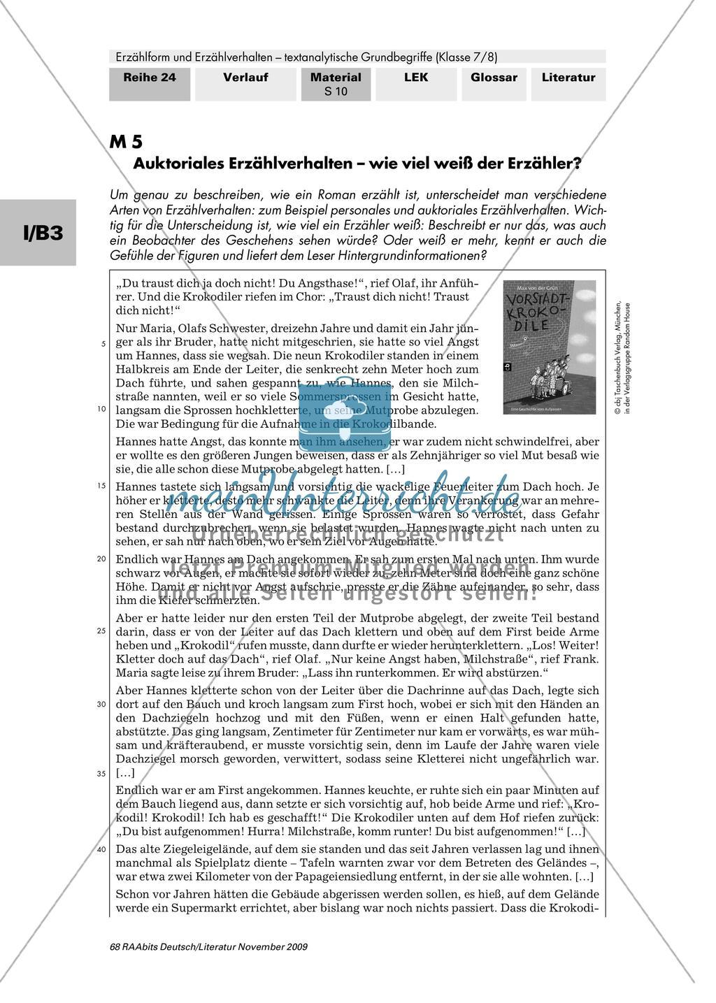 """Auktoriales Erzählverhalten am Roman """"Vorstadtkrokodile"""" untersuchen Preview 1"""