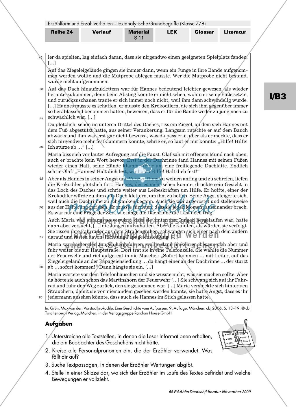 """Auktoriales Erzählverhalten am Roman """"Vorstadtkrokodile"""" untersuchen Preview 2"""