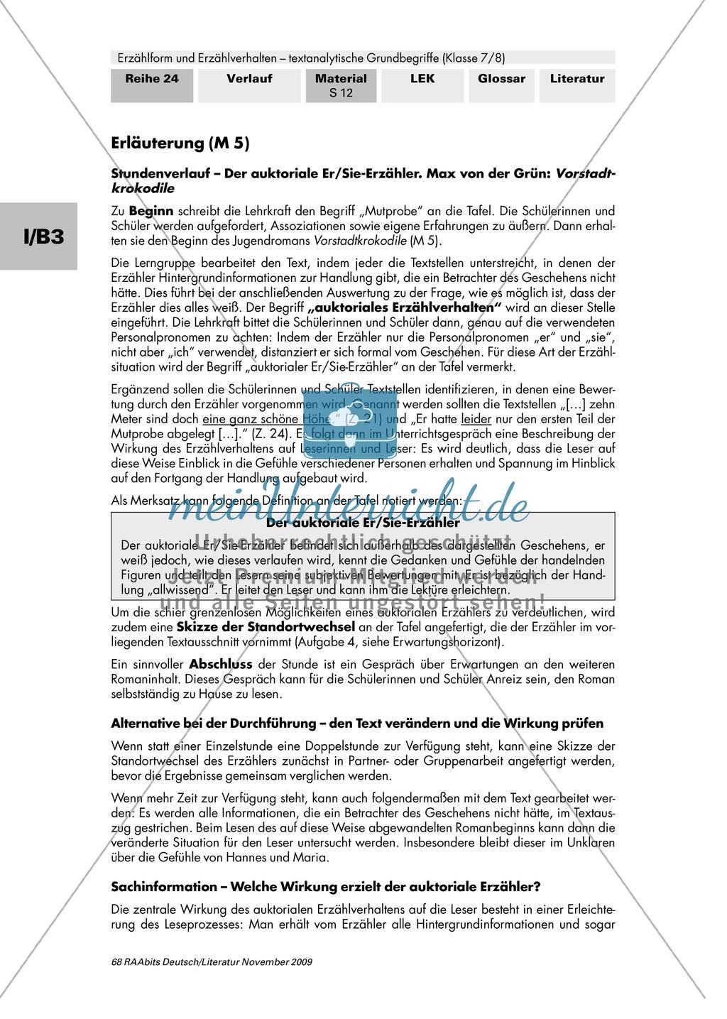 """Auktoriales Erzählverhalten am Roman """"Vorstadtkrokodile"""" untersuchen Preview 3"""