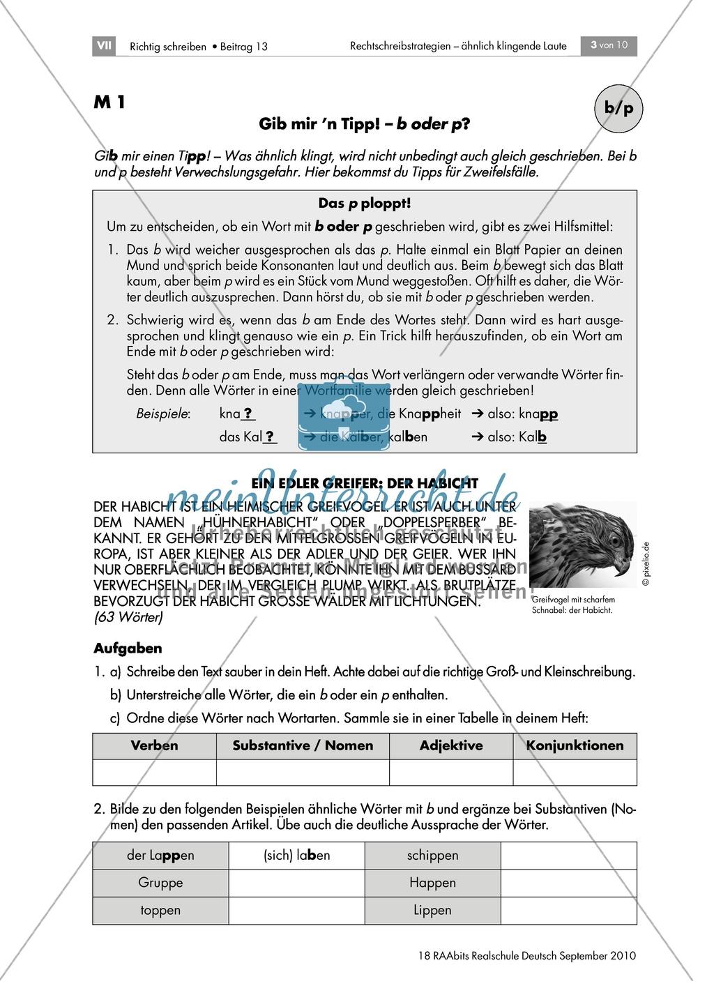 Rechtschreibung: Wörter mit b/p Preview 1