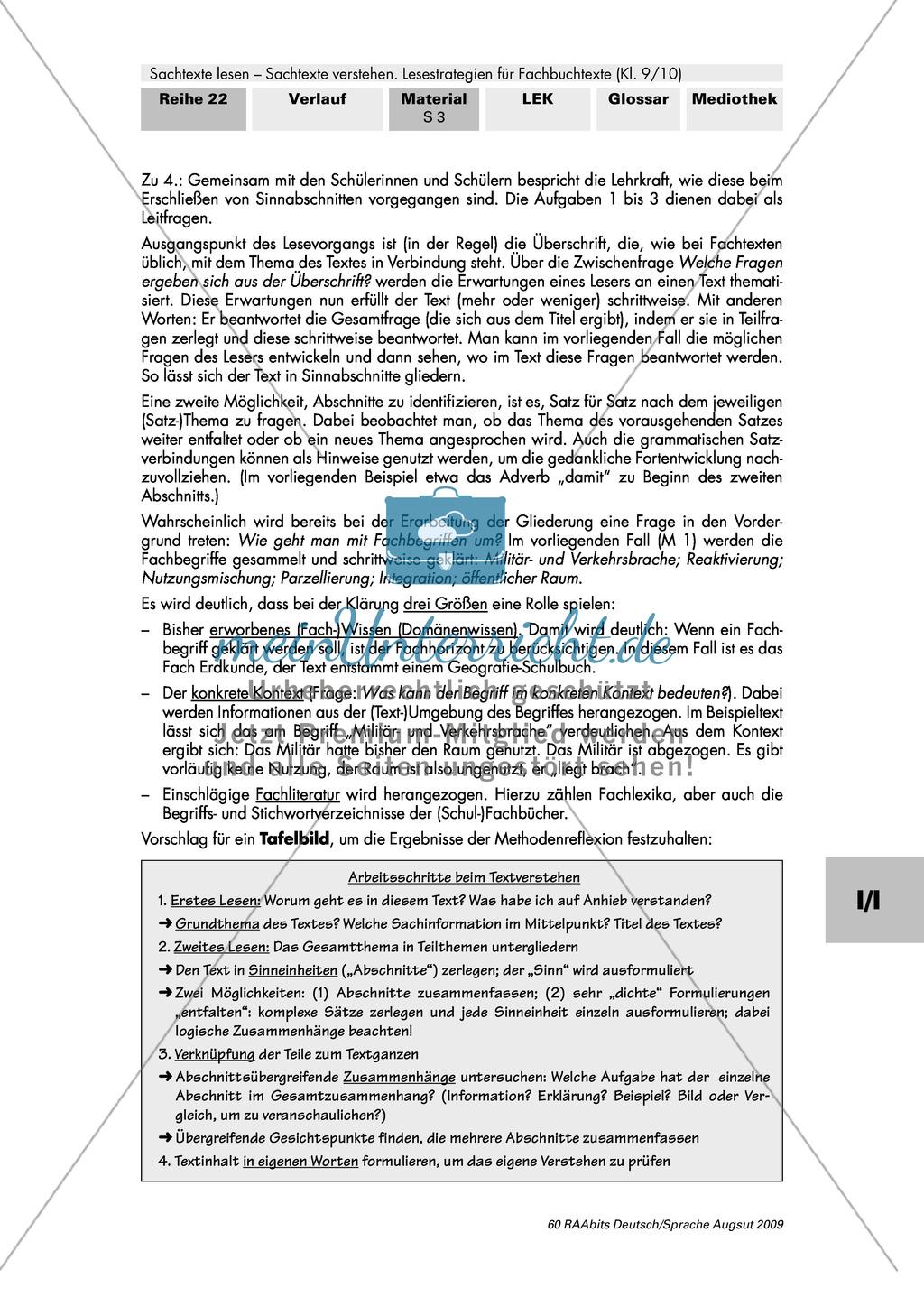 Strategien zum Lesen eines Sachtextes kennen und reflektieren Preview 2