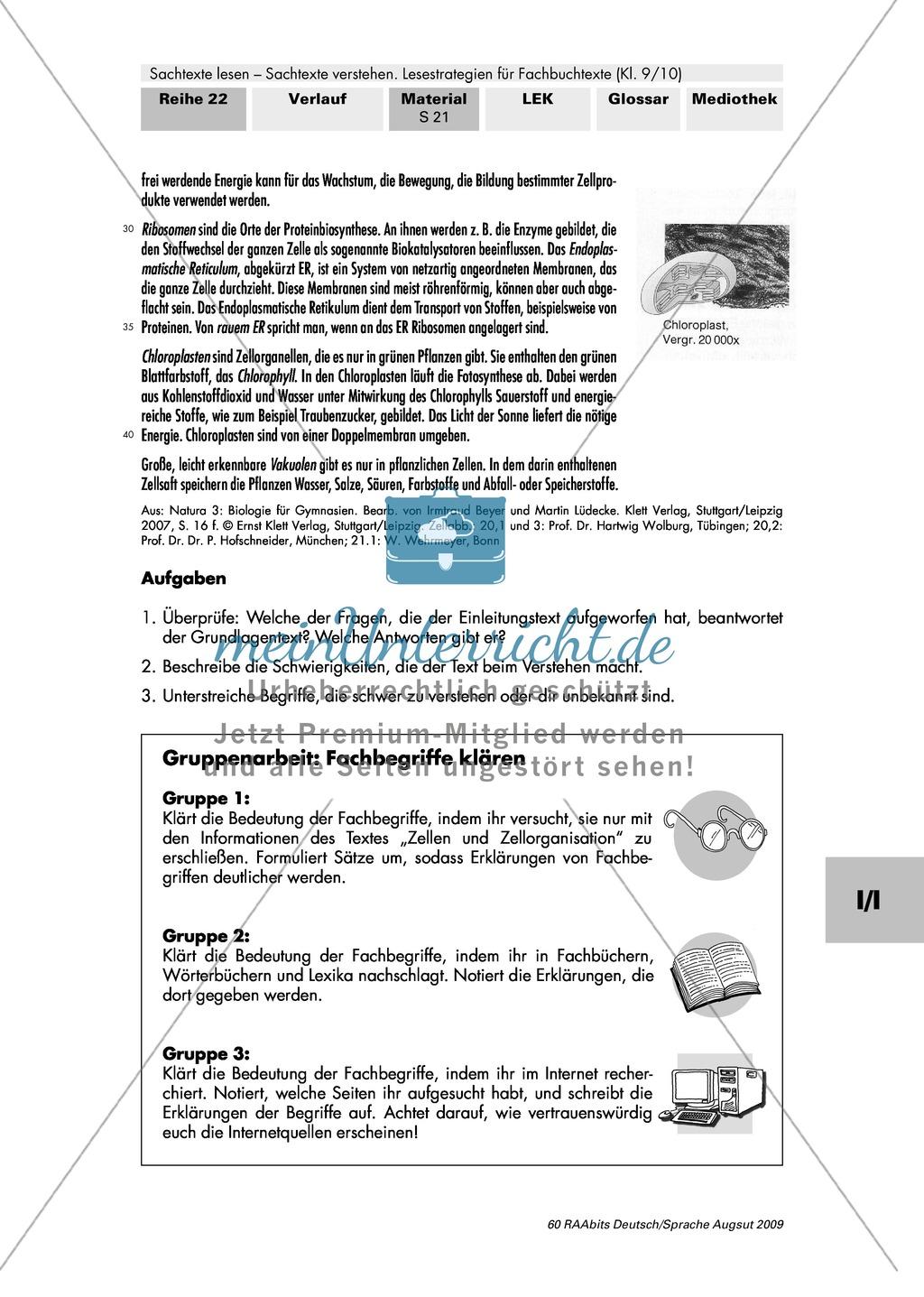 Unterschiedliche Aufgaben von Sachtexten erkennen - beispielhafte Bearbeitung eines Biologietextes Preview 4