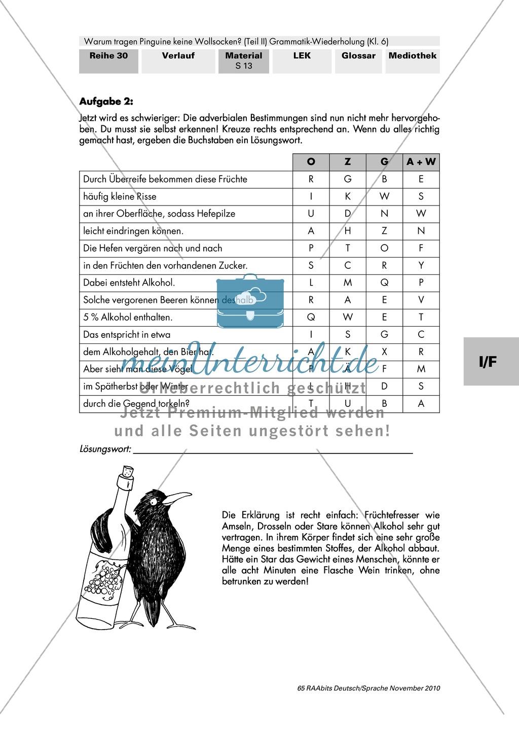 Warum tragen Pinguine keine Wollsocken? Eine individuelle Grammatik-Wiederholung zu Satzgliedern und Tempora Preview 18