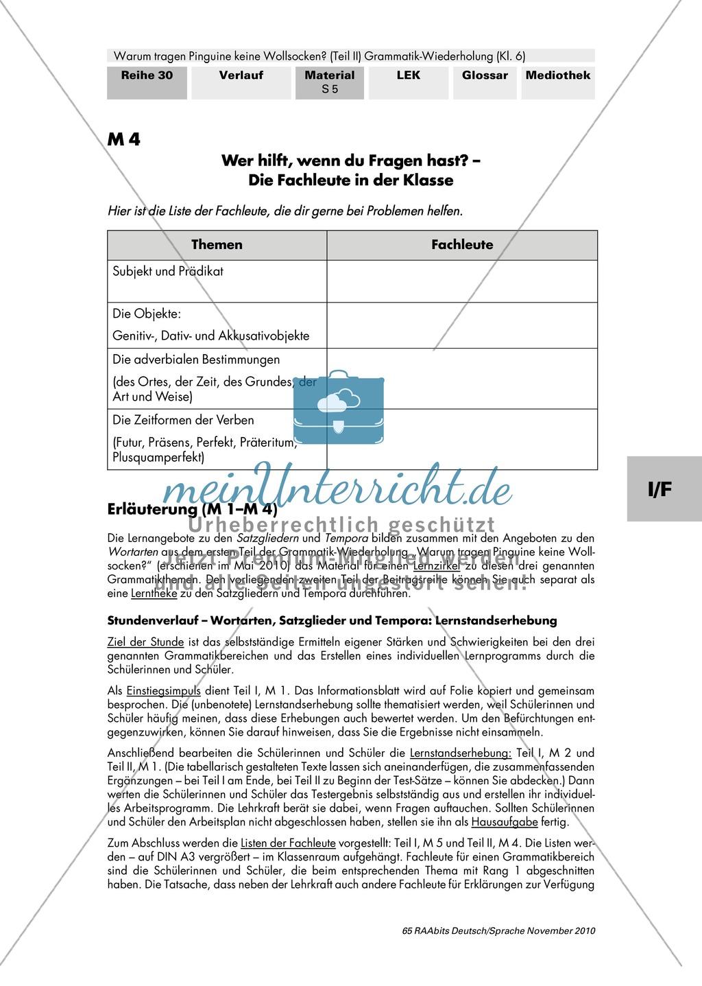 Lernstandserhebung und Auswertung zu Satzglieder und Zeitformen der Verben Preview 4