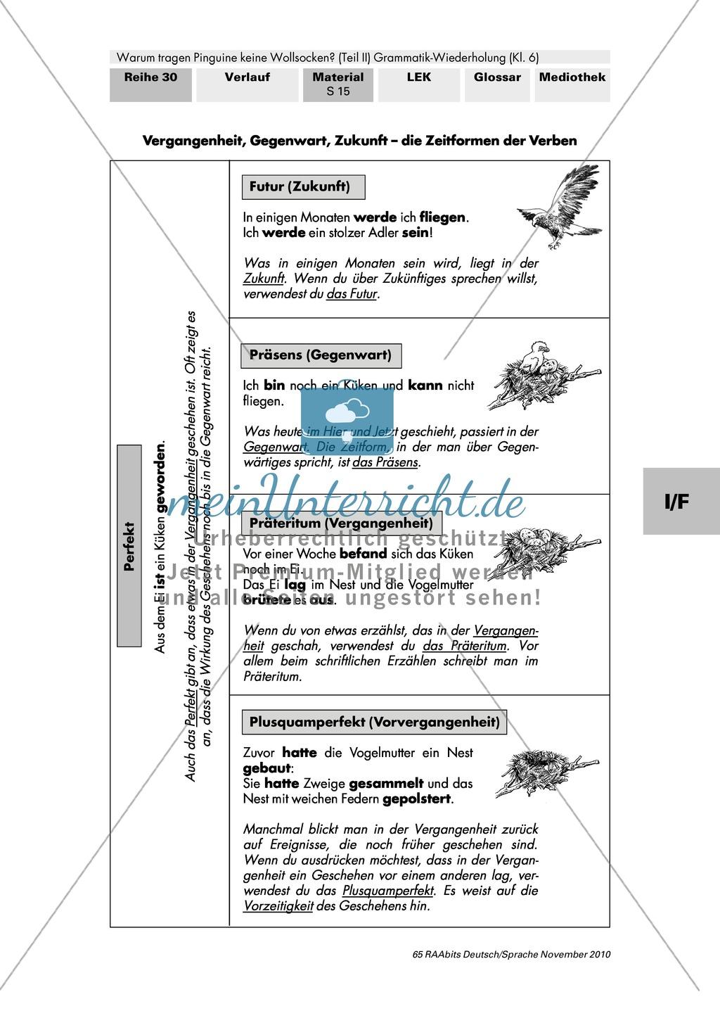 Lernangebote zu den Tempora: Futur, Präsens, Perfekt, Präteritum, Plusquamperfekt Preview 3