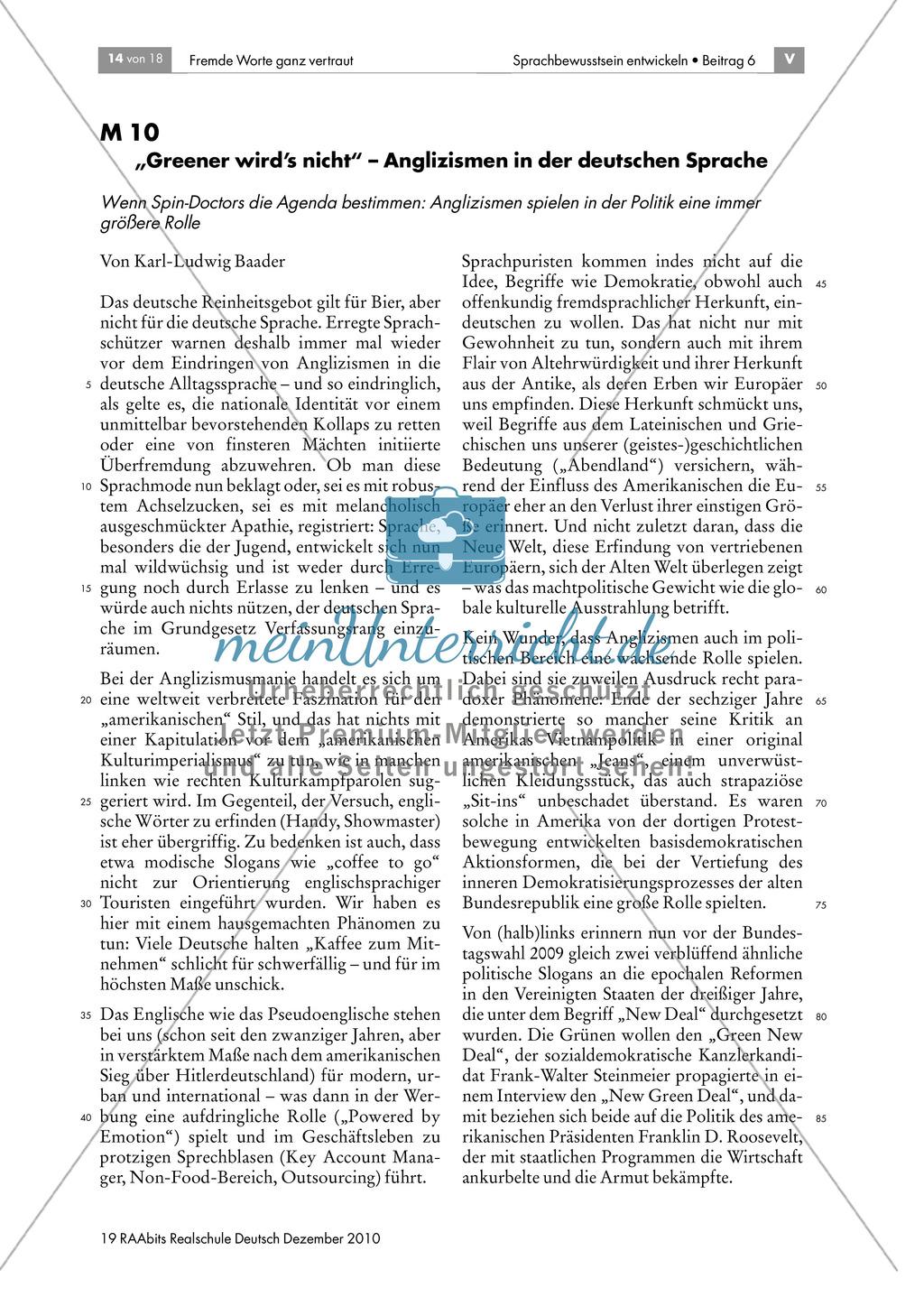 Anglizismen und die deutsche Sprache Preview 0
