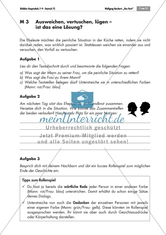 Das Verhältnis des Ehepaares in Wolfgang Borcherts Kurzgeschichte ...