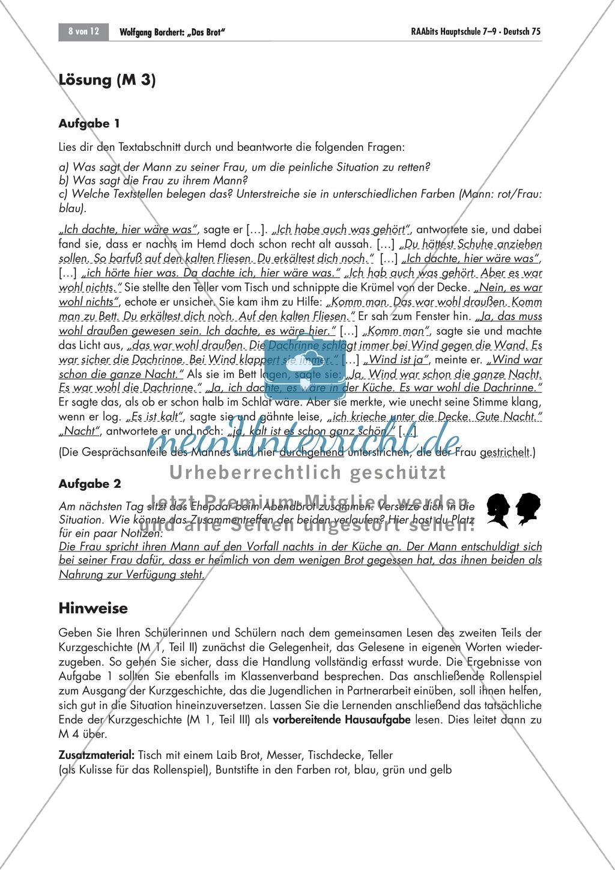 Das Verhältnis des Ehepaares in Wolfgang Borcherts Kurzgeschichte