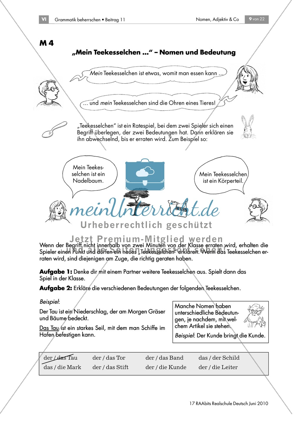 Nomen und ihre Bedeutung anhand von Wortspielen kennen lernen: Teekesselchen und Nomen-Memory Preview 1