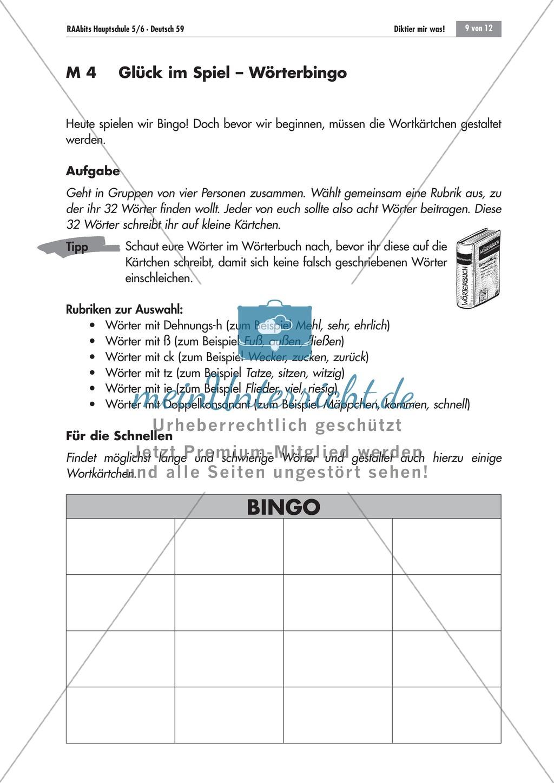Übung und Strategien zum korrekten Schreiben: Wörterbingo + Kreuzworträtsel Preview 0