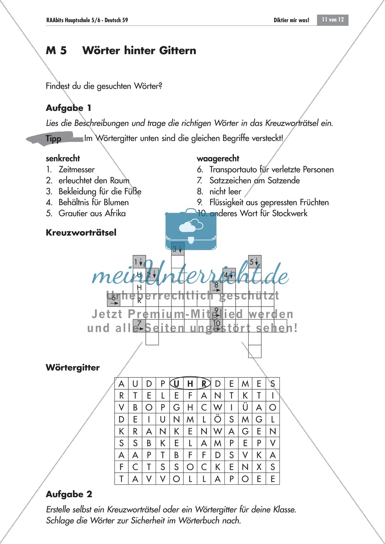 Übung und Strategien zum korrekten Schreiben: Wörterbingo + Kreuzworträtsel Preview 2